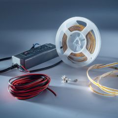 Starter-Kit LumiFlex COB LED Strip with continuous light warm white CRI90 2700K 5690lm 24V 16.4ft reel with driver and dimmer