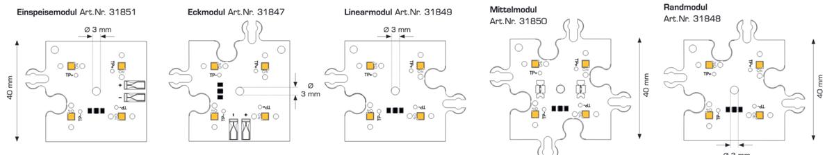 Module ConexMatrix cu 4 LED-uri Alb Cald CRI90