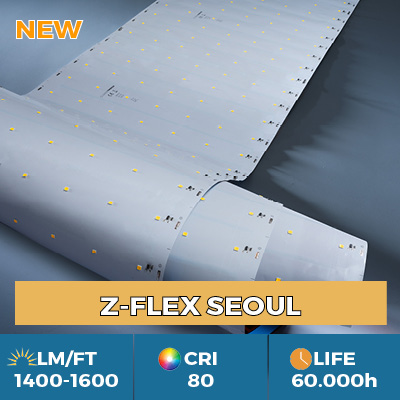 Professional Z-Flex Seoul LED Strips, up to 1900 lm per foot, in single or multi LED row versions
