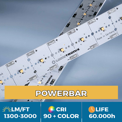 Professional PowerBar modules, up to 3000 lm / ft, white, color and UV light