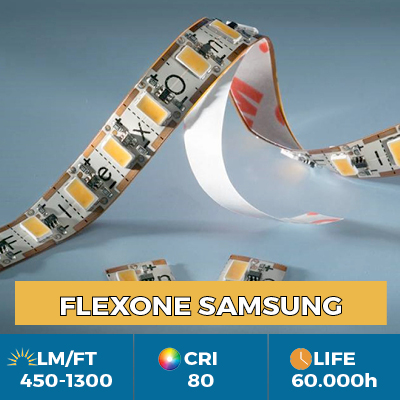 FlexOne Samsung LED Strips, can be cut at each LED, light output up to 1300 lm / ft